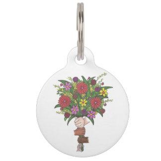 Little Hands School Teacher Floral Flower Bouquet Pet Name Tag
