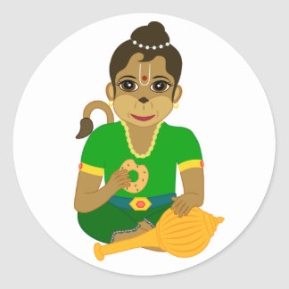 Little Hanuman Classic Round Sticker
