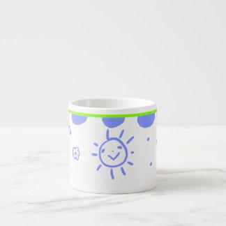 Little happy sunshine mug in blue and green espresso mug