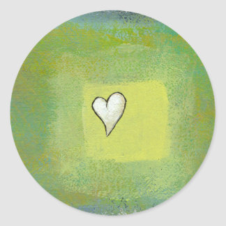 Little heart painting symbolic original artwork classic round sticker