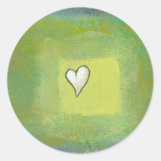 Little heart painting symbolic original artwork round sticker