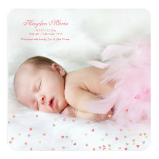 Little Hearts Girl Photo Birth Announcement