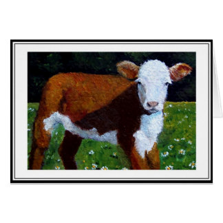 LITTLE HEREFORD CALF: PAINTING IN OIL CARD