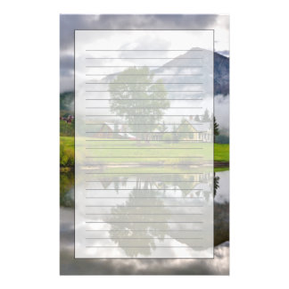 Little House in Mist on Lake Stationery