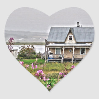 Little house with a field of flowers heart sticker