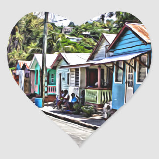 Little houses in Ste-Lucia Heart Sticker