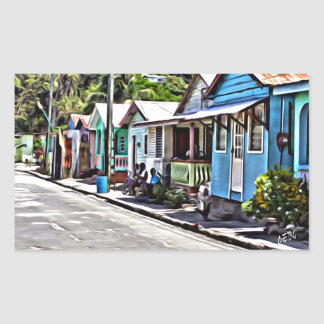 Little houses in Ste-Lucia Rectangular Sticker