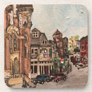 Little Italy, Cleveland Ohio Painting on a Coaster