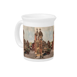 Little Italy, Cleveland Painting on Pitcher