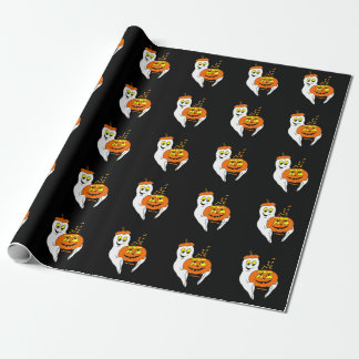 Little Jack & Boo HALLOWEEN  black Wrapping Paper