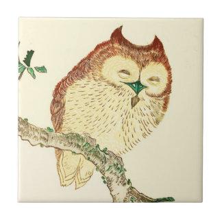 Little Japanese owl Ceramic Tile