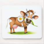 Little Jersey cow eating daisy Mousepads