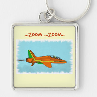 Little Jet Plane Silver-Colored Square Key Ring