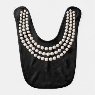 Little Jewel (pearls, black) Bib