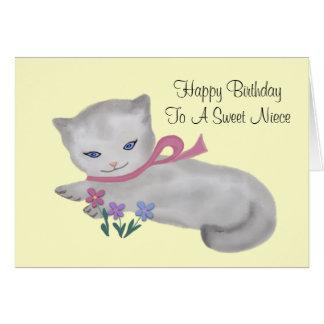 Little Kitten Niece Birthday Card