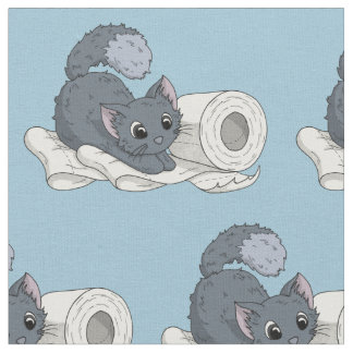 Little Kitten on Toilet paper Fabric