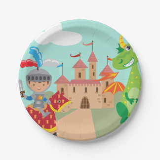 Little Knight Castle and Dragon 7 Inch Paper Plate