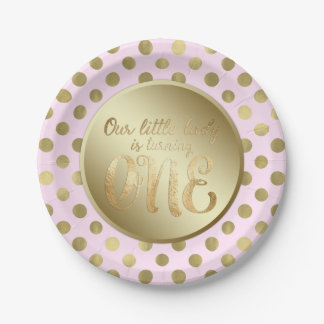 Little Lady Pink Gold 1st Birthday Party Paper Plate