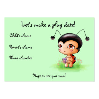 Little Ladybug Girl Play Date Card Pack Of Chubby Business Cards
