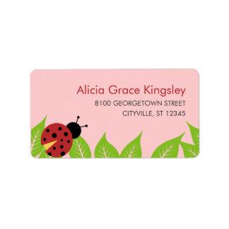 Little Ladybug Kids Address Label