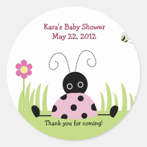 Little Ladybug (Pink) Baby Shower Favor Sticker