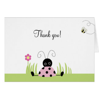 Little Ladybug (Pink) Folded Thank you notes Note Card