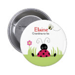Little Ladybug Red NAME TAG Personalised Button