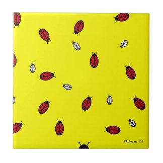 Little Ladybugs on Yellow Tile
