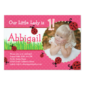 Little Lady's Birthday - Ladybugs 13 Cm X 18 Cm Invitation Card