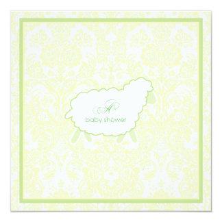 Little Lamb Baby Shower Invitation | Green