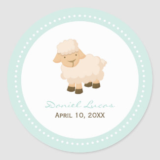 Little Lamb Baptism Classic Round Sticker
