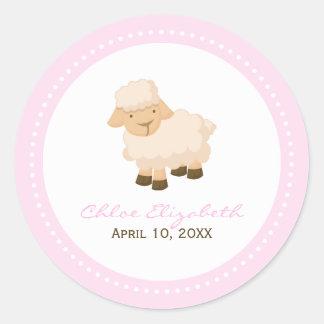 Little Lamb Baptism Round Sticker