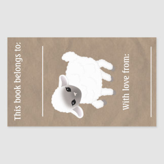 Little Lamb Book Plate Rectangular Sticker