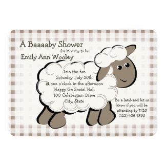 Little Lamb Gingham Baby Shower 13 Cm X 18 Cm Invitation Card