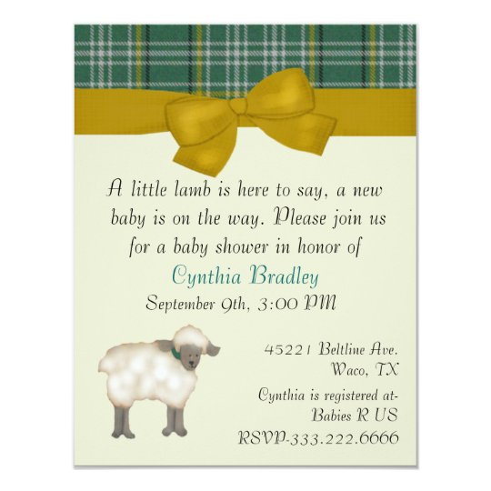 Little Lamb Sweet baby shower invitation