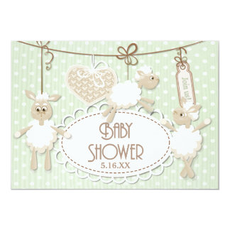 Little Lamb Toys Baby Shower 13 Cm X 18 Cm Invitation Card