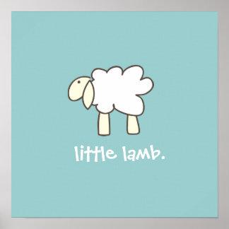 Little Lamb wall print (cool blue)