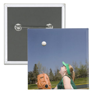 Little league player catching ball 15 cm square badge