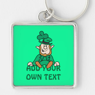 Little Leprechaun - Add Your Own Text Silver-Colored Square Key Ring
