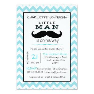 Little Lil' Man Moustache Boy Blue Baby Shower Invitation