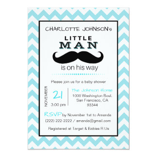 Little Lil' Man Mustache Boy Blue Baby Shower Card