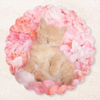 Little Linus Pink Floral sleeping kitten Paper Coaster