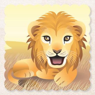 Little Lion Scalloped Square Paper Coaster