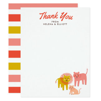 Little Lions Baby Shower Flat Thank You Note Cards