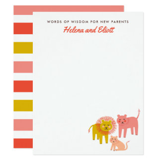 Little Lions Desert Warm Baby Shower Advice Cards
