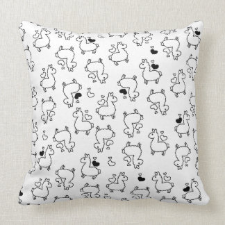 Little Llama Silhouette Madness Throw Pillow