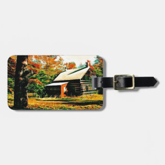 Little Log Cabin in the woods Art Luggage Tag
