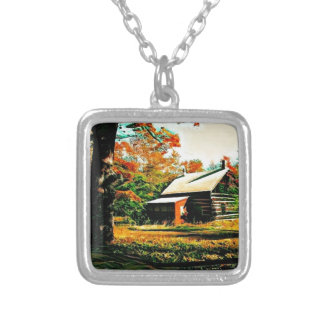 Little Log Cabin in the woods Art Silver Plated Necklace