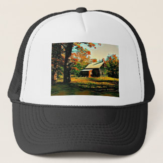 Little Log Cabin in the woods Art Trucker Hat