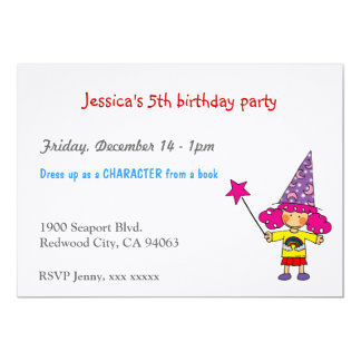 Little magician birthday party 13 cm x 18 cm invitation card
